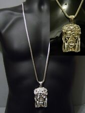 """Hip Hop Franco 36"""" Long Chain Silver Crystal Iced Out Jesus Crown Piece Pendant"""