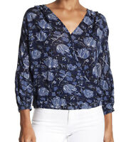 Lucky Brand Navy Blue Floral Wrap Blouse Women's Medium NEW