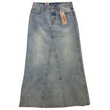 Levis Denim Jean Long Skirt Actual Sz 28 Boho Chic Frayed Raw Hem Faded Modest