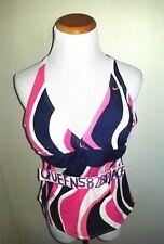 Nike womens Size 12 Navy Blue Pink White design Logo Tankini Swim Top  Swimsuit