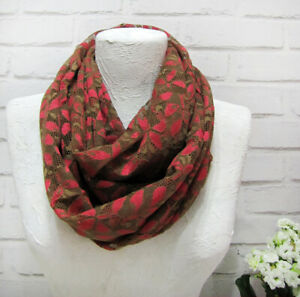 Red-brown Christmas lace soft infinity scarf/bohemian style friend gift