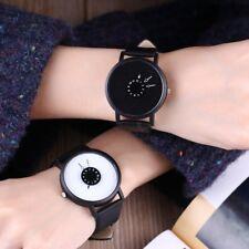 Fashion Unique Women Men Leather Dial Quartz Lovers Watch Round Wristwatches New