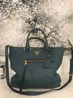 PRADA Vitello Daino Shopper Handtasche Tasche Bag Türkis Blau Ocean Blue NP1500€
