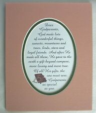 GODPARENTS Wonderful Love GOD MADE Rare Gift Beyond Compare verses poems plaque