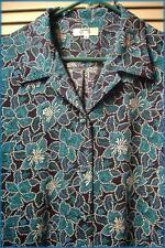 """Asian Floral Blouse Jacket (Size 18) Navy Teal White 44"""" bust Polyester"""