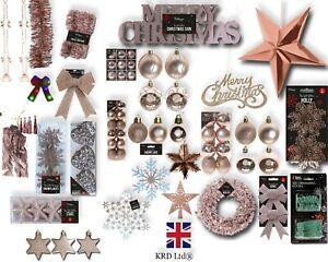 ROSE GOLD Christmas Tree Ornaments Hanging Baubles Star Heart Bows Xmas Decor UK