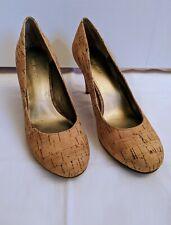 Nine West cork pumps/heels - natural/nude w/metallic gold thread accent, size 6