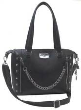Harley-Davidson Women's Chain Gang Leather Satchel Purse, Black CG2325L-BLACK