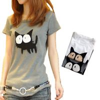 Cat Print T-shirt cotton Top Fashion Funny Gift Lady Pet Cute blouse Size 8-12