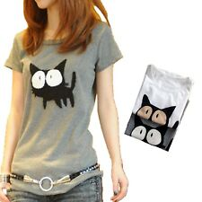 T-shirt Top Fashion Funny Cat Gift Crazy Lady Pet Cats Cute blouse Size 8-12
