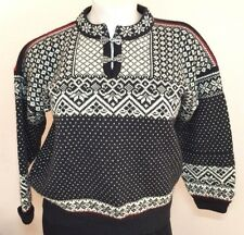 Volund of Norway L 100% Wool Black White Snowflake Ski Sweater Silver Clasps