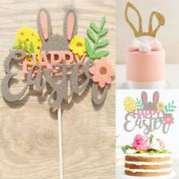 Happy Easter Bunny Cartoon Rabbit Cake Toppers Party Cupcake Flag Decoration Set