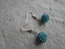 Handmade ~ Earrings ~ 10mm Aquamarine  ~ Disco ~ Shambala Beads