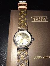 Brand New Strap Monogram Authentic Louis Vuitton Ladies Tambour 28mm Watch Q1212