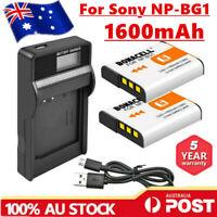 2X NP-BG1 NP-FG1 Battery+ LCD Charger For Sony Cyber Shot DSC-H20 T100 H50 H3 EG