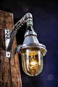 Loft Kleine Industrielampe Bunkerlampe Wand Wandlampe LAMP CCCP Halterarm GRAU