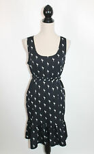 Banana Republic NWT Black White Flamingo Bird Print Belted Ruffled Shift 8