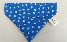 Slide on dog bandanas size M blue with white stars. Polycotton handmade