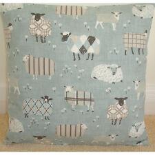 """18"""" Cushion Cover Baa Lamb Tartan Sheep Duck Egg Blue Grey Beige and Cream Farm"""