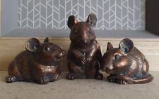 Set Of 3 Small Mice Bronze Coloured Resin Ornaments