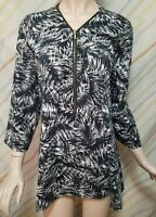 """""""ROBERT LOUIS""""Top Womens Size L black and brown 3/4 Sleeve...PRE-OWNED"""
