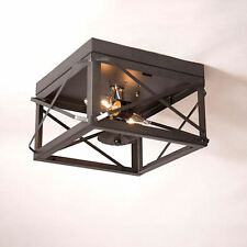 Irvin Country Tinware Double Ceiling Light Folded Bars Kettle Black FREE SHIP