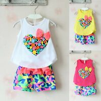 2pcs Toddler Kids Baby Girl Outfits Vest Tank Top Dress+Shorts Pants Clothes Set