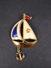 Signed AVON Vintage NAUTICAL SAILBOAT BROOCH Pin Anchor Charm Enamel Sail Boat