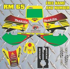SUZUKI RM65 KLX FULL GRAPHIC SET DECAL FREE NAME AND NUMBER ALL YEARS RM