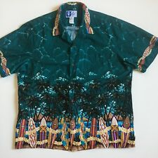 RJC Mens XL 100% Cotton Aloha Hawaiian Beach Shirt Surf Board Palms