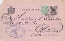 Romania-1891 Uprated 5 b black/pink PS postcard Galatz cover to Tiflis, Georgia