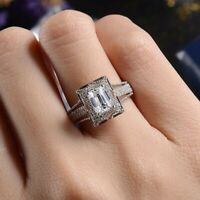 Vintage Womens 925 Silver Wedding Rings Square Cut White Sapphire Ring Size 6-10