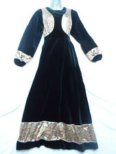 STUNNING VINTAGE BLACK VELVET MAXI DRESS WITH GOLD FLORAL PANELLING - PURE BOHO