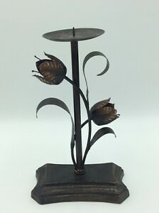Distressed Brass Effect Flower Candle Holder