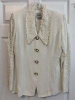Vintage R&M Richards Karen Kwong Ivory Blazer Size 8 Crochet Lace Pearl Buttons