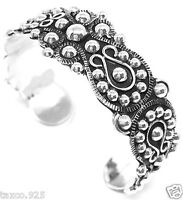 TAXCO MEXICAN STERLING SILVER BEADED BEAD DECO SCROLL CUFF BRACELET MEXICO