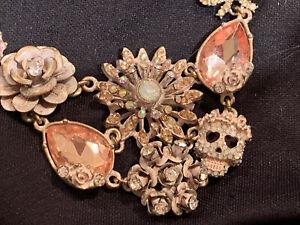 Vintage Betsey Johnson Rhinestone  Skelton Necklace Halloween