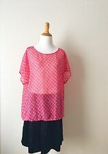 Liz Claiborne Top Blouse XL Short Sleeve Sheer Top Red Floral Top Used