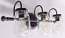 3 light clear mason jar lighting glass dark bronze vanity bathroom wall