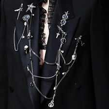 Vintage Punk Gothic Rock Tassel Rhinestone Pentagram Chain Brooch Pin Badge