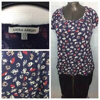 Laura Ashley Top T-shirt Blue Sea shell print size 10