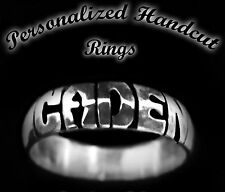 Personalized 5mm Handcut Carved Engraved Sterling Silver .925 Name Rings