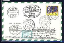 58290) LH FF München - Lugano Schweiz 30.3.92, Karte FDC Bund 1600 Zirkus