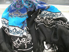 D18 Black Turquoise Blue Lilac Abstract Square Scarf Shawl Wrap Ladies Design