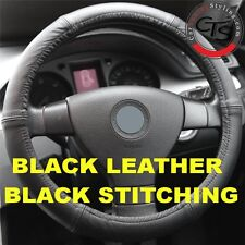 VW TRANSPORTER T5 T4 MK4 MK5 MK6 BLACK ITALIAN LEATHER STEERING WHEEL COVER NEW
