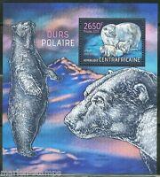CENTRAL AFRICA  2013 POLAR BEARS  SOUVENIR SHEET MINT NH