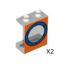 LEGO Spongebob - Panel 1 x 2 x 2 w/ Porthole Blue on Orange Background (X2)