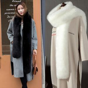 Womens Faux Fur Scarf Fluffy Collar Winter Warm Shawl Stole Wrap Long Soft Furry