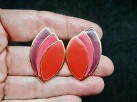 Vintage-1980's Gold Tone Red, Pink & Purple Enamel Pierced Earrings