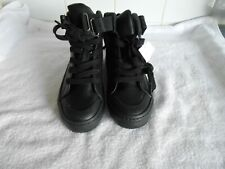 M&S GIRLS  BLACK LEATHER LACE & ZIP BOOTS SIZE UK 1 BNWT £32